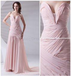 Sweetheart Backless Beading Asymmetrical Pleat Draped Sweep Train Chiffon Dress - #lushpromhair