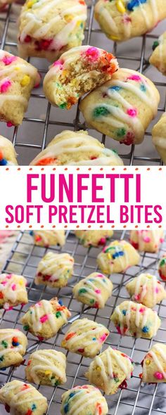 Funfetti soft pretzel bites are an easy and poppable sweet treat the whole family will love. This sweet soft pretzel dough recipe contains no yeast so there's no rise time required.
