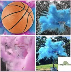 Gender Reveal Basketball, Pink and Blue Powder Kit for Baby Boy Girl Gender Reveal Party. Biggest Basketball Most Powder Biggest Puff and Great Photos Opportunity - Event & Party Supplies Powder Gender Reveal, Gender Reveal Video, Gender Reveal Party Games, Confetti Gender Reveal, Gender Reveal Photos, Gender Reveal Balloons, Gender Party, Reveal Parties, Basketball Gender Reveal