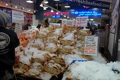 This display will stop you right in your tracks! Only at Pure Food Fish Market! Pike Place Market, Pureed Food Recipes, Grilled Shrimp, Behind The Scenes, Salmon, Grilling, Display, Fish, Pure Products