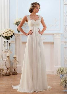 5b10e50bf8a3 Buy discount Glamorous Chiffon Sweetheart Neckline Empire Waistline Sheath  Wedding Dress With Beaded Lace Appliques at