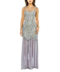 Gray Lace Illusion Maxi Dress