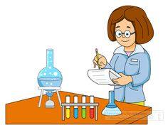 Science : lady-scientist-performing-experiment-graduated-cylinder : Classroom Clipart