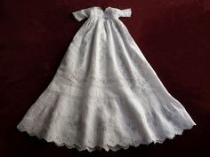 Extraordinary antique French embroidered linen and lace christening gown.