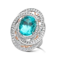 Paraiba, Diamond, Rose Gold and Platinum Ring