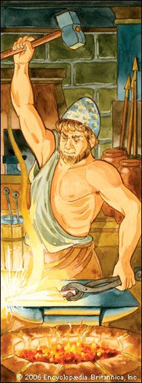 Hephaestus at his forge.