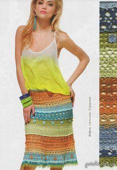 Разноцветная ажурная юбка крючком. Описание, схемы