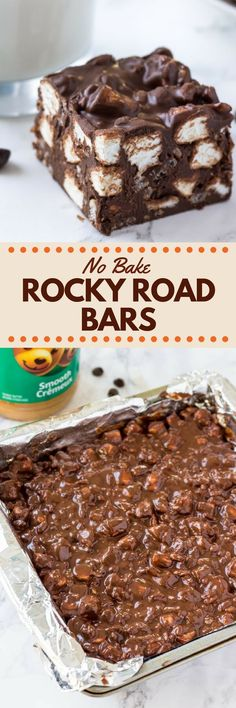 No Bake Rocky Road Bars These No Bake Rocky Road Squares are the perfect easy recipe if you love peanut butter and chocolate. With only 5 ingredients – they're crispy, crunchy & gooey thanks to using Rice Krispie cereal and mini marshmallows. No Bake Treats, No Bake Desserts, Easy Desserts, Yummy Treats, Delicious Desserts, Sweet Treats, Yummy Food, Health Desserts, Holiday Desserts