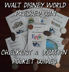Pressed Penny Checklist and Pockets for Walt Disney World - free downloadable pockets that you can use to find pressed coin locations Disney Family, Disney Fun, Disney Tips, Disney Cruise, Disney Travel, Disney Honeymoon, Disney Secrets, Disney Stuff, Honeymoon Ideas
