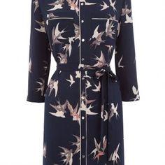 Oasis Sashiko Bird Shirt Dress, Blue Multi