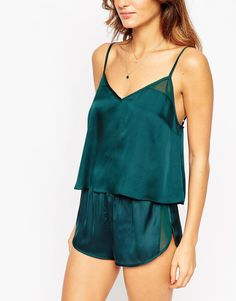 Image 3 of ASOS Satin Cami & Short Pajama Set