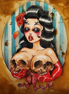 sugar skull artwork. very much like Betty Boop . how cute. #skull #sugar #art