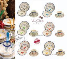 VILLA D ESTE Servizio di piatti GALLETTO 18 PZ (6 PERS) + Set 6 tazzine caffè