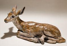 Ceramic Animal Sculptures | Impala Calf in Raku-fired Ceramic
