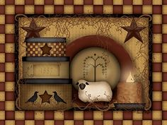 Primitive Country Folk Art - Primitive Starberry - Wall Art From The ...