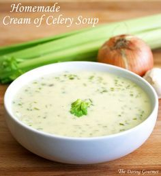 Homemade Cream of Celery Soup.  Delicious on its own or used in any recipe calling for canned condensed soup.  daringgourmet.com