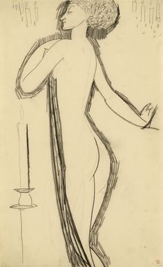 Modigliani Standing Female Nude in Profile with Lighted Candle  c.1911     Black crayon, 16 7/8 x 10 3/8 inches; 42.9 x 26.4 cms                                                                               Stamped with the Paul Alexandre collection mark.
