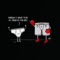 Deviant Art user Nabhan has created a series of illustrations in which many of these objects double up as puns. Here is an illustration involving a conversation between a brief and a boxer. Punny Puns, Cute Puns, Creative Poster Design, Creative Posters, Poster Designs, Funny Illustration, Creative Illustration, Visual Puns, Funny Doodles