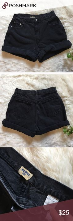 Vintage Super high waisted black jean shorts Cute and comfy real vintage jean shorts.  Re-poshing because they were not my size.  I never wore them.  Can be rolled or let down!  Tag says size 14! Urban Outfitters Shorts Jean Shorts