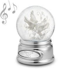 """<strong><font color=""""#8e0c3a"""">♫ Plays """"What the World Needs               Now""""</font></strong><br/>                                                       An endearing pair of gorgeous bisque turtledoves-symbolic of love and fidelity because they mate for life-adorns this snow globe. The bisque finish makes the  intricate detailing and filigree touches stand out even more, creating a truly lovely, romantic scene she can't help but love. The globe rotates on its brilliant silver base and ..."""