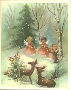 Forest concert... Snowy woods, three little angels, a bunny, and two Christmas deer-io   vintage greeting card