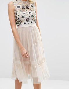 Needle & Thread | Needle & Thread Tulle Woodland Embellished Midi Dress at ASOS