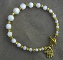 Handcrafted Vintage MOP & Gold Bracelet - A JewelryArtistry Original - BR237        $24.98