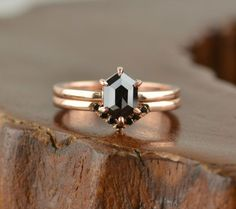 Danity Hexagon Black Diamond Engagement Ring. This rose gold engagement ring is perfect for the minimalist lovers. | Gorgeous Black Diamond Engagement Rings