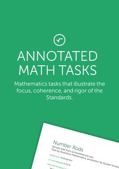 Common Core-aligned math tasks highlighting the Shifts of focus, coherence, and rigor.