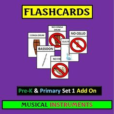 """46 Picture Word Flashcards . Colorful and Fun! Kid tested and approved! See it! Say it! Read it! Hear it! This Set Expands my Pre-K & Primary Set 1 Musical Instruments and Vocal Flashcards. PreK, Kindergaren and First Grade can move ahead while 2nd Grade can review. What a great way to continue having your young ones involved in active listening without writing. Use with my other """"What Do You Hear?"""" Listening Activities. Skills include word-picture-sound recognition, eye-hand coordination…"""