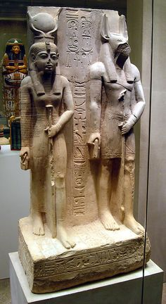 Isis and Wepwawet, god of Asyut  Date: ca. 1279–1213 B.C.  Asyut (Assiut, Siut; Lykopolis), Tomb of Siese, Khashaba  Accession Number: 17.2.5