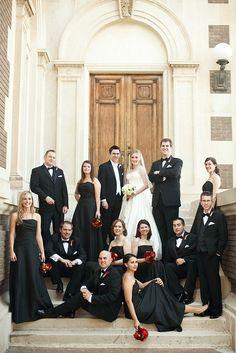 Black, white, & red wedding