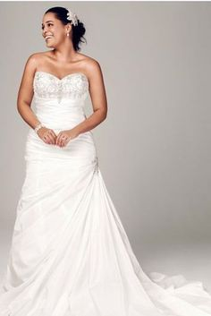 Strapless Sweetheart Trumpet Wedding Gown, David's Bridal | 31 Jaw-Dropping Plus-Size Wedding Dresses