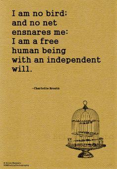 I Am No Bird- | Charlotte Bronte Quote | Jayne Eyre | Inspirational Quotes | Erica Massaro, EDMPoetryPhotography