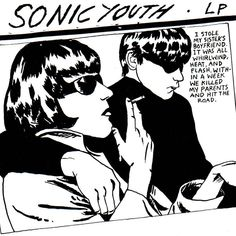 Sonic Youth — Goo    On Sonic Youth's 1990 album Goo, Raymond Pettibon went with the family murder motif. Disturbing and ambiguous textual motifs were his thing. The work is based on a photograph of witnesses of a real serial killer case. And yet, pleasing isn't it? Or, you're sick! From Gerhard Richter to Richard Kern to Mike Kelley to Richard Prince, arty album covers are part of Sonic Youth's definitive… let's be honest here… brand. They're great, though.