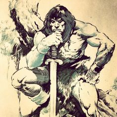 John Buscema Inks by Wes-StClaire... When I was a kid, John Buscema showed me how Conan the Barbarian was supposed to look. IMHO, Jason Momoa looks more like this Conan than Mr. Schwarzenegger ever could.