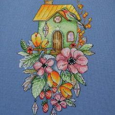 "Finished work by pattern ""House with tulips"" #sa_stitch #sa_pattern #pattern #crossstitch"