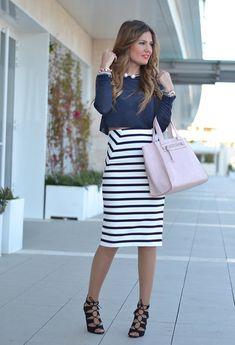 stripped skirt+ top