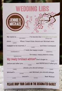 Wedding Mad Libs PDF FILE Print Yourself Cherry Blossoms via Etsy