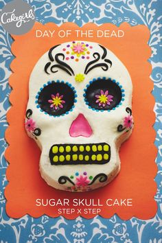 Use our shaped skull pan to create this Day of the Dead Sugar Skull Cake in no time at all. | Shop supplies and see the step x step tutorial at www.thecakegirls.com