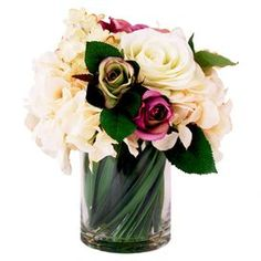 Faux Magenta Rose & Hydrangea
