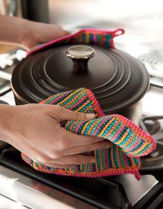 Modèle manique au crochet Pot Holders, Knit Crochet, Catalogue, Knitting, Handmade, Diy, Patience, Bath, Kitchen