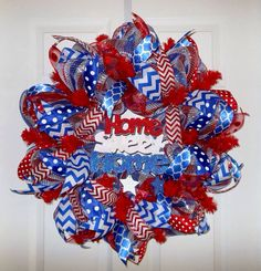 SALE-Patriotic Red, White and Blue Decomesh Wreath on Etsy, $75.00