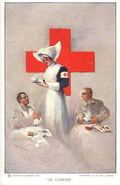 An illustration of a nun nurse serving warm beverages to wounded soldiers, Pictures of Nursing: The Zwerdling Postcard Collection. National Library of Medicine Vintage Nurse, Vintage Art, Vintage Images, Vintage Posters, International Red Cross, Nurse Art, American Red Cross, World War One, Military Art