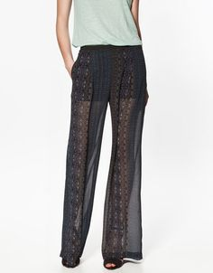 Pantaloni ampi  con tessuto trasparente  Pantaloni da Donna - ZARA Italia