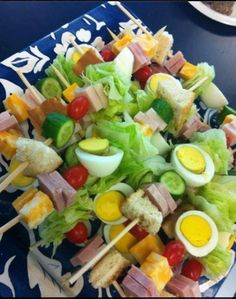 A chop salad kabob skewer... I think yes in all the right ways!!! summer bbq snacks made easy!