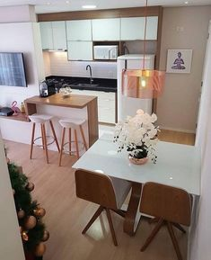 43 Amazing Small First Apartment Decorating Ideas ~ Ideas for House Renovations Living Room Kitchen, Home Decor Kitchen, Home Kitchens, Kitchen Design, Kitchen Ideas, Dining Room, First Apartment Decorating, Apartment Living, Decoration