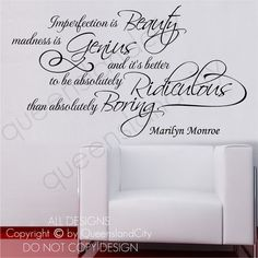 Marilyn Monroe Imperfection Is Beauty Life Inspiration Wall Quote Vinyl Art  Decal Sticker Home Decor On