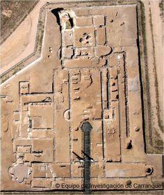 Edifício Palacial na vila romana de Carranque, em Carranque, Toledo, Castilla - La Mancha, Espanha.