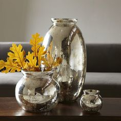 50 Fall Finds Under $50: Add a hint of glam to your dresser with this embossed leather catchall ($49).  : Vintage-inspired apothecary jars ($14) can stand alone or be turned into vases.  : Just picture how great these mercury glass vases ($12-$39) will look filled with Fall foliage.